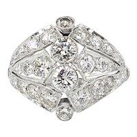 Vintage 2.89ct Round Diamond Anniversary Platinum Ring EGL USA