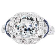 Antique 1.71CT Old Euro Diamond Sapphire Engagement Platinum Ring EGL USA