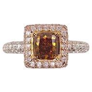 Vintage GIA 1.94ct Fancy Orange Cushion Diamond Engagement 18k Multi-Tone Gold Ring
