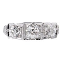 Art Deco 1.40ct Old European Diamond Three Stone Engagement 14k White Gold Ring