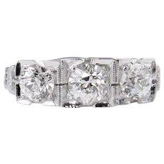 Art Deco 1.40ct Old European Diamond Three Stone Engagement 14k White Gold Ring