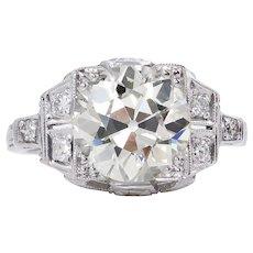 GIA 3.05ct Antique Vintage Art Deco Old European Diamond Engagement Wedding Platinum Ring