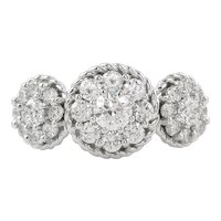 1.51ct Vintage Round Diamond 3 Stone Cluster Engagement 14k White Gold Ring
