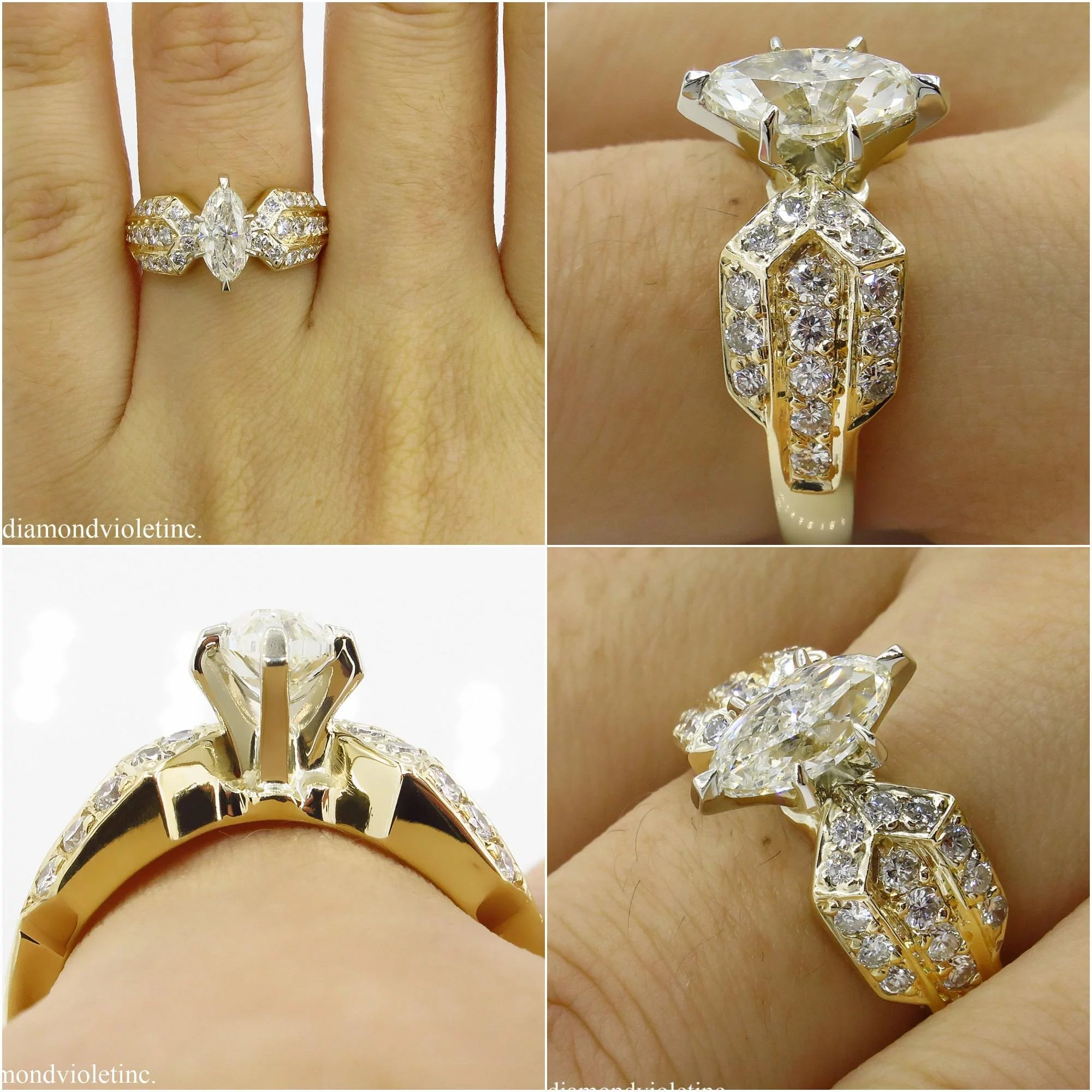 6546709e17398 Vintage 1.72ct Marquise Diamond Engagement Wedding 14k Yellow Gold Ring EGL  USA