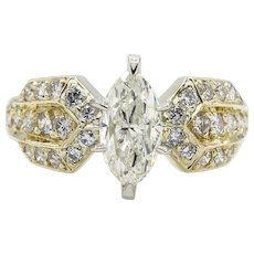 Vintage 1.72ct Marquise Diamond Engagement Wedding 14k Yellow Gold Ring EGL USA