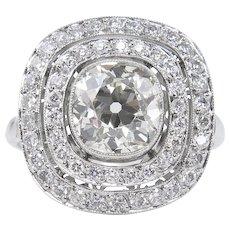 Vintage 2.26ct Old Mine Diamond Cluster Engagement Platinum Ring EGL USA