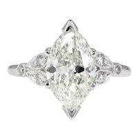 Art Deco 2.25ct Old Euro Marquise Diamond Engagement Platinum ring EGL USA