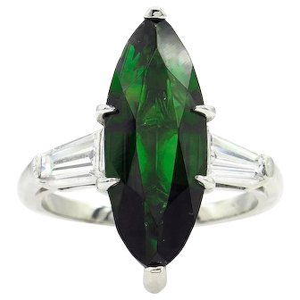Vintage GIA 3.85ct Green Tourmaline Diamond Engagement Platinum Ring