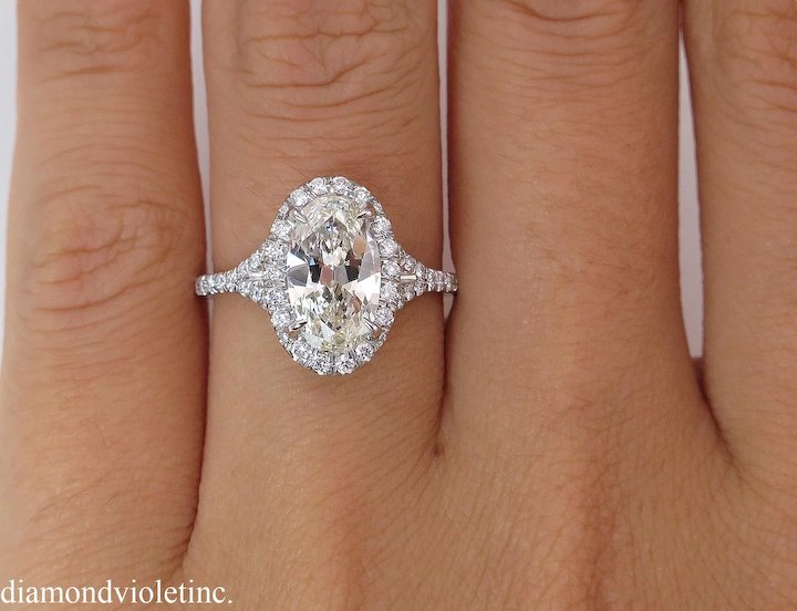 1 75ct Estate Vintage Oval Diamond Engagement Wedding Platinum Halo Ring