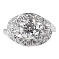 Vintage GIA 2.60ct Old European Diamond Cluster Engagement Platinum Ring