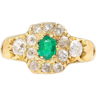 1.00ct Antique Vintage Victorian Green Emerald Diamond Engagement Wedding Cluster 18k Yellow Gold Ring EGL USA
