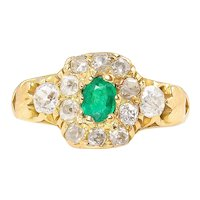 RESERVED… 1.00ct Antique Vintage Victorian Green Emerald Diamond Engagement Wedding Cluster 18k Yellow Gold Ring EGL USA