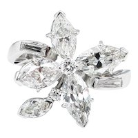 Vintage GIA 2.69ct Diamond Cluster Right Hand Fashion Ring in Platinum