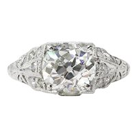 Edwardian GIA 2.15ct Old Mine Cushion Diamond Engagement Platinum Ring