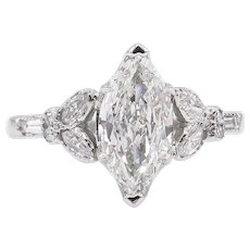 Art Deco GIA 1.50ct Old Marquise Diamond Engagement Platinum Ring