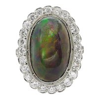 Vintage 7.21ct Australian Black Opal Cluster Engagement Platinum Ring
