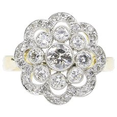Vintage 1.35ct Round Diamond Cluster Engagement Platinum/18k Yellow Gold Ring