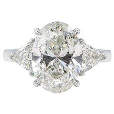 Vintage 3.63ct Oval Diamond 3 Stone Engagement Platinum Ring EGL USA