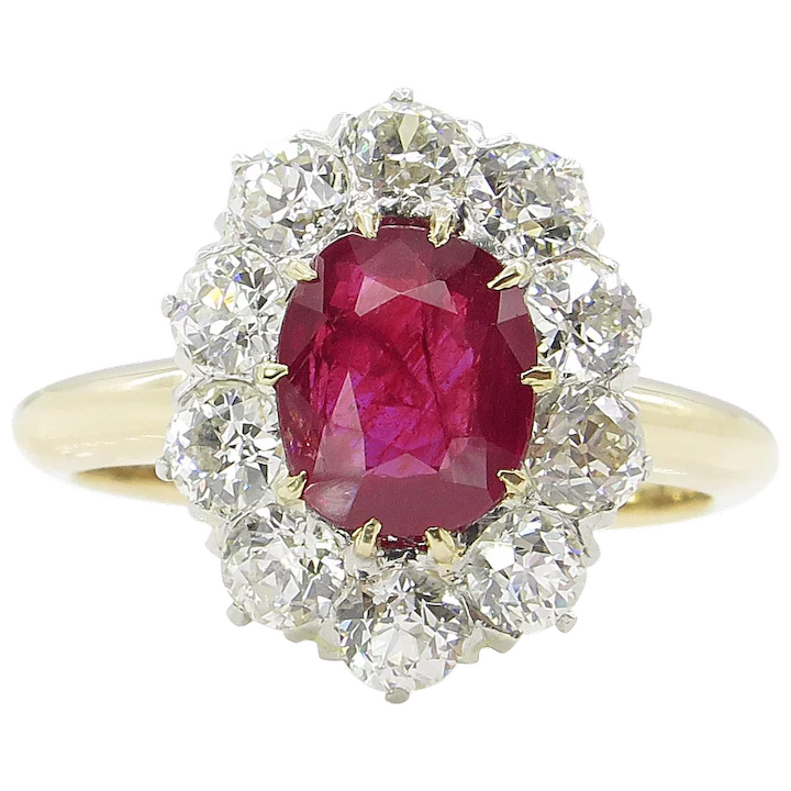 eeccf392c5887 Victorian AGL 2.31ct Dark Red Burma Ruby Diamond Engagement Cluster 18k  Yellow Gold Ring