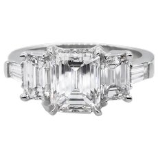 Vintage GIA 3.51ct Emerald Diamond 5 Stone Engagement Platinum Ring