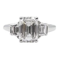 Vintage GIA 2.54CT Emerald cut Diamond 3 stone Engagement Platinum Ring