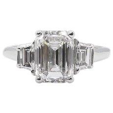 Vintage GIA 2.54CT Emerald cut Diamond 3 stone Engagement Platinum Ring