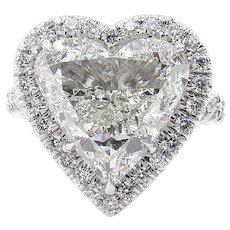 Vintage GIA 5.20ct Heart Diamond Halo Engagement Platinum Ring