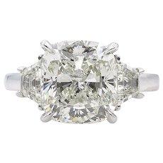 Vintage GIA 4.50ct Cushion Diamond Three Stone Engagement Platinum Ring