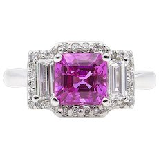 Vintage AGL 3.03ct No Heat Pink Sapphire Diamond 3 Stone Engagement 18k White Gold Ring