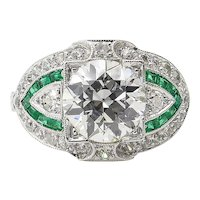 GIA 3.10ct Estate Vintage Old European Diamond Green Emerald Engagement Wedding Platinum Ring