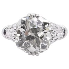Edwardian GIA 5.01ct Old Mine Diamond Engagement Platinum Ring