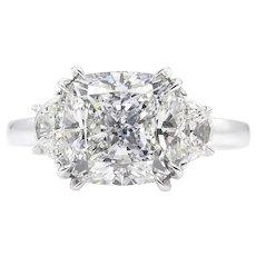 Vintage GIA 3.43ct Cushion Diamond 3 Stone Engagement Platinum Ring