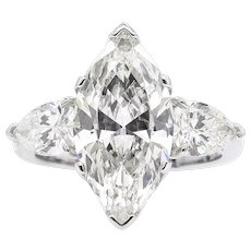 Vintage 4.29ct Marquise Diamond 3 Stone Engagement Platinum Ring