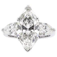 Vintage 4.29ct Marquise Diamond 3 Stone Engagement Platinum Ring