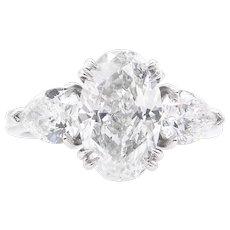 Vintage GIA 2.66ct Oval Diamond 3 Stone Engagement Platinum Ring