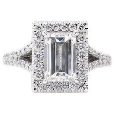 Vintage GIA 2.14ct Carrè Emerald Diamond Halo Engagement Platinum Ring