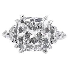 Vintage GIA 4.46ct Cushion Diamond Engagement Platinum Ring