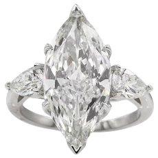 Vintage GIA 5.24ct Marquise Diamond 3 Stone Engagement Platinum Ring