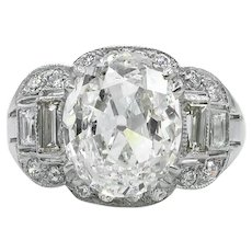 Vintage GIA 4.02ct Old Mine Oval Diamond Engagement Platinum Ring