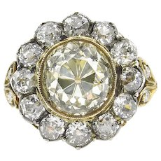 Antique 4.21ct Old Mine Diamond Cluster Engagement Wedding 18k Yellow Gold Ring