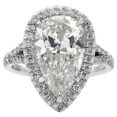 Vintage GIA 3.89ct Pear Diamond Halo Engagement Platinum Ring
