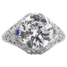 Edwardian GIA 3.76ct Old European Diamond Engagement Platinum Ring
