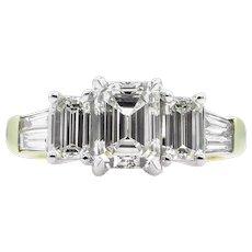 Vintage GIA 2.01ct Emerald Diamond 5 Stone Engagement 18k Gold Ring