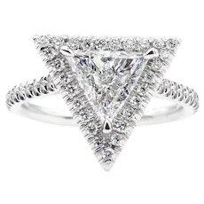 Vintage GIA 1.37ct Trillion Diamond Halo Engagement Platinum Ring