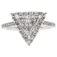 Vintage D COLOR! GIA 1.43ct Trillion Diamond Engagement Platinum Ring