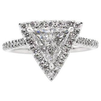 Vintage D COLOR! GIA 1.43ct Trillion Diamond Engagement Platinum Ring