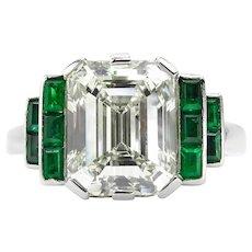 GIA 4.46 Antique Vintage Deco Emerald cut Diamond Engagement Wedding Platinum Ring