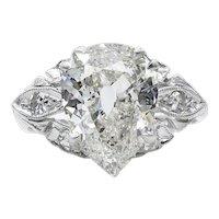 GIA 3.08ct Antique Vintage Old Mine Pear Diamond Engagement Wedding Platinum Ring