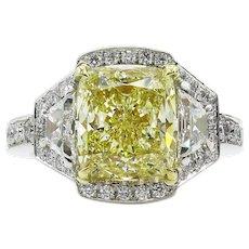 Vintage GIA 5.02ct Fancy Yellow Cushion Diamond 3 Stone Engagement  Platinum Ring