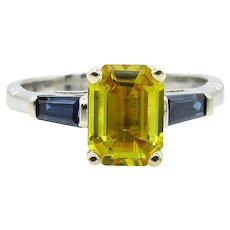 Vintage GIA 2.06ct Yellow Blue Sapphire Engagement Platinum/18k Ring